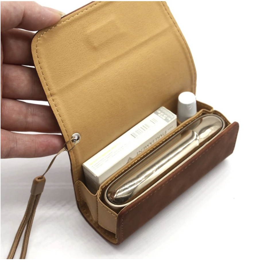 Flip-top book leather case with 2 sections for IQOS