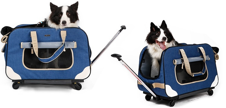 Ultra-breathable Folding Four-wheel Pet Cart