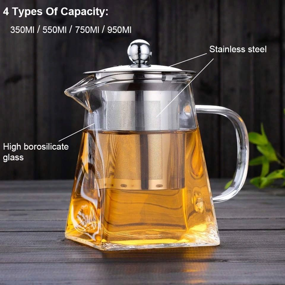 Borrey glass tea kettle with filter