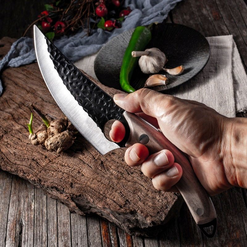 High carbon steel kitchen knife for easy bone cutting