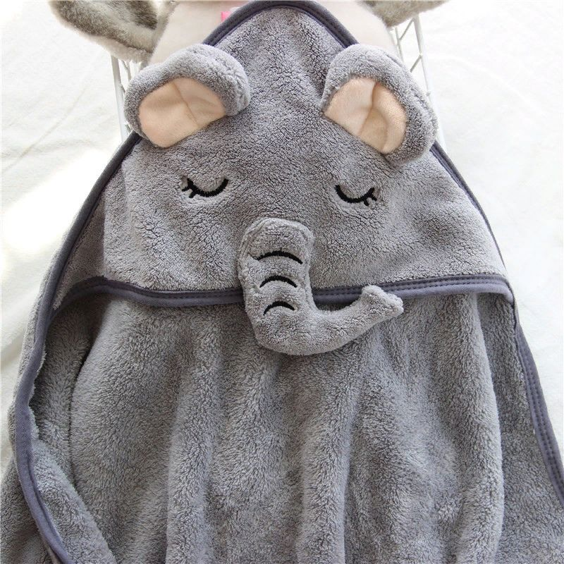 Soft hooded bath baby towels - animals