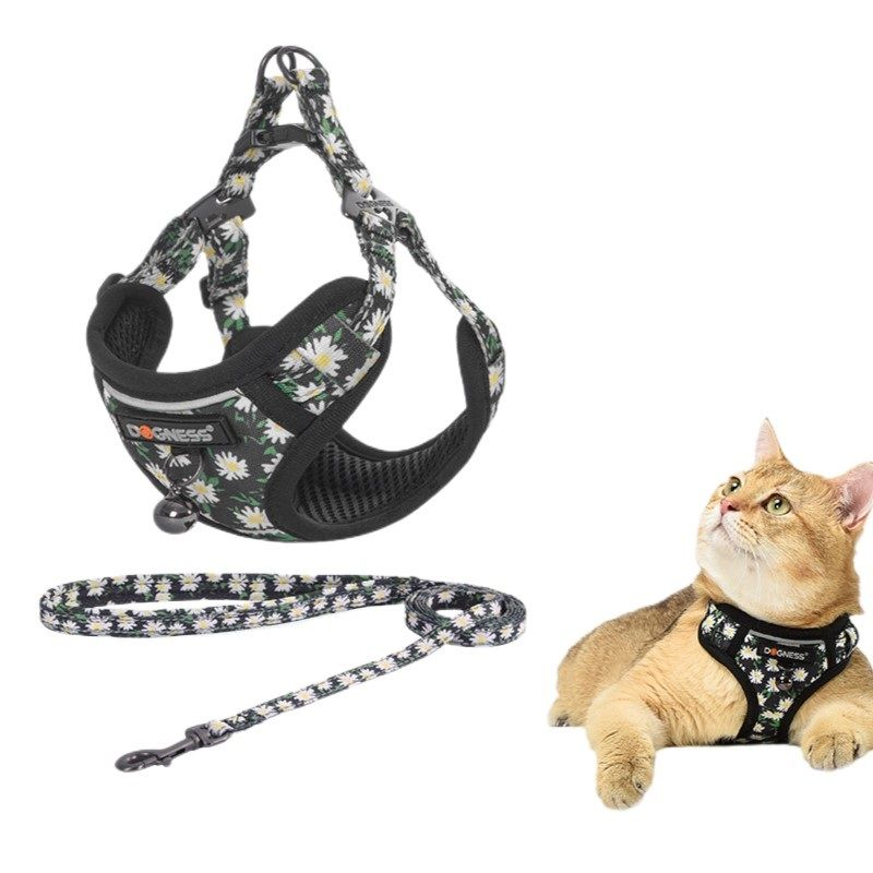 Cat vest harness with a leash and a bell