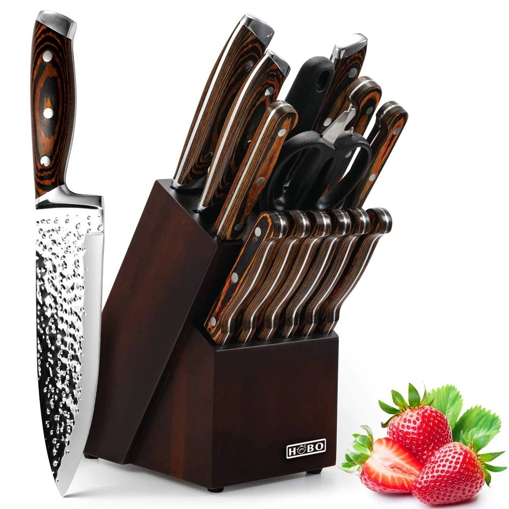 Professional chef knife set with a wooden block